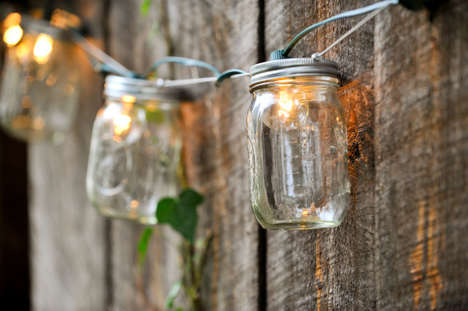 Mason Jar Lighting - These Backyard Lights String Together Upcycled Mason Jars