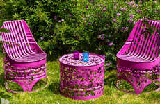 Ornately Upcycled Barrel Seating - Dentelles & Bidons Create Amazing Barrel Chairs from Metal Drums