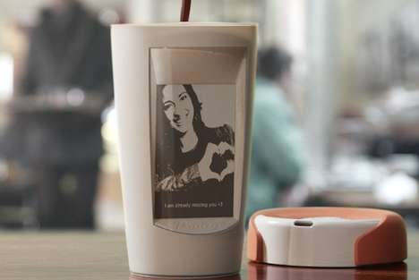 Customized Electronic Coffee Cups - This E-Ink Coffee Cup Personalizes Your Coffee Drinking