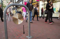 Gong-Attached Bike Storages - Musical Bike Rack by George Zisiadis Offers a Cathartic Release
