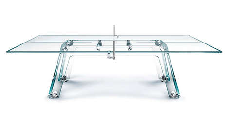 Transparent Table Tennis - The Lungolinea Ping Pong Table Elevates a Casual Game to Crystal Luxury