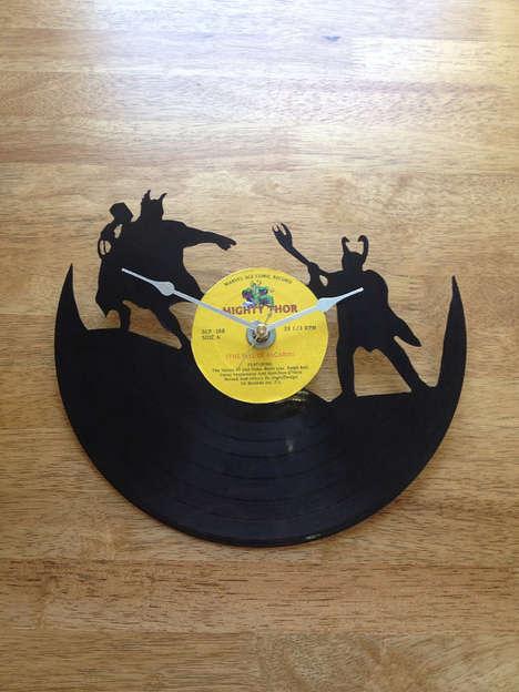 Vinyl Superhero Clocks