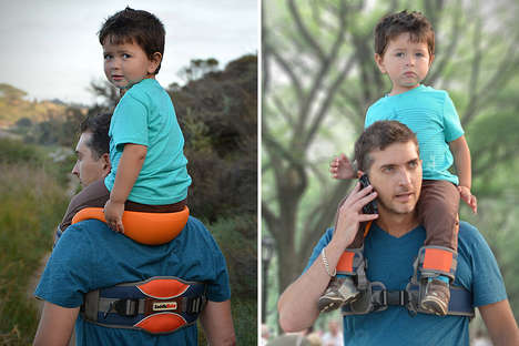 Shoulder-Mounted Kiddie Carriers - The SaddleBaby Child Carrier Keeps Kids in Birds Eye View