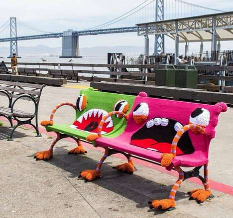 Monstrously Yarn-Bombed Benches