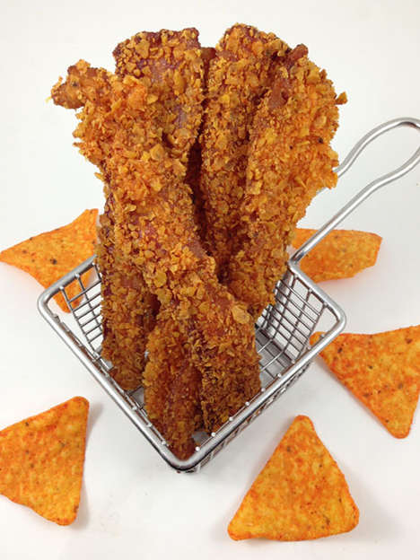 Nacho Chip-Crusted Bacon - This DudeFoods Bacon Recipe is Covered in Deep Fried Doritos