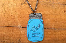 Mason Jar Necklaces - These Rustic Necklaces Feature Tiny Canning Jar Charms