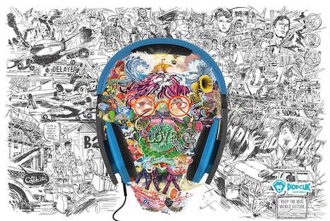 Illustrated Audio Accessory Ads