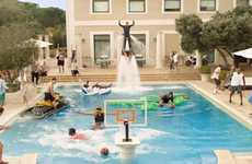 Jet-Fueled Basketball Ads - An Epic Pool Dunk Advertises the Upcoming Euroleague Final Four