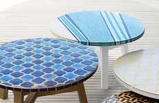 Elegantly Ornate Outdoor Furnishings - The Mosaic Tiled Coffee Table from West Elm is Artfully Bold