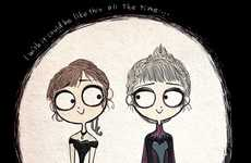 Gothic Frozen Film Adaptations - Tim Burton Inspired Frozen Illustrations Combine Cinematic Classics