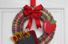 Handmade Teacher's Day Gifts - The Crayon Wreath from Etsy Shop GlitzyGirlDesigns Celebrates Mentors