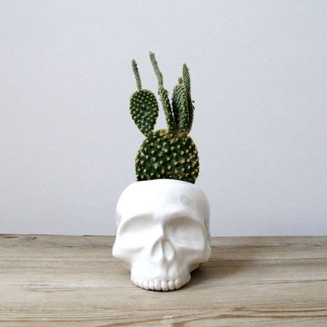 Cranium-Shaped Eco Accessories - The Ceramic Skull Planter from Etsy Shop Mudpuppy are Sculptural