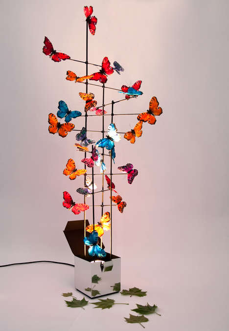 Butterfly-Covered Lamps