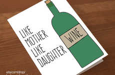 Wine-Loving Maternal Greetings - The Like Mother Like Daughter Card from Etsy is Humour-Infused