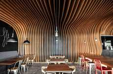 Undulating Timber Coffeehouses - The Six Degrees Cafe is a Cozy Retreat