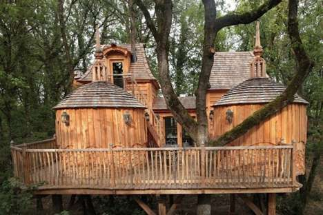 Whimsical Castle Cabins - This Wood Cabin is Built Around an Oak Tree