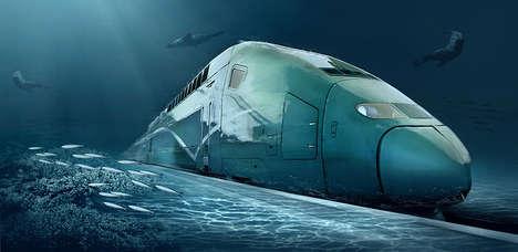 Underwater Transcontinental Trains