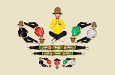 Trefoil Rapper Logos - Illustrator Mike Frederiqo Draws Pharrell Williams as the Adidas Logo