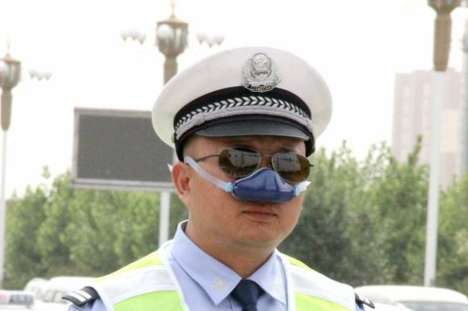Nasal Air Purifiers - These Unusual Nose Masks Help Chinese Police Breathe Clean Air