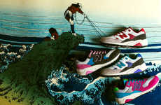 Illustrative Sneaker Landscapes - The New Balance MRT580 'REVlite Pack' Campaign is Oriental-Themed