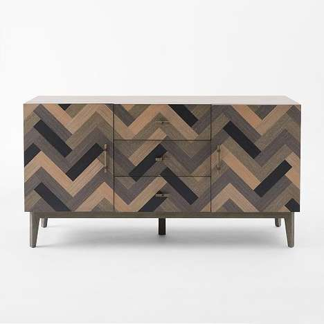 Chevron Woodgrain Furnishings