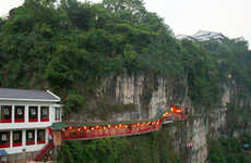 Oriental Cliffside Eateries - Visit the High Altitude Fangweng Restaurant on Your Next Trip to China
