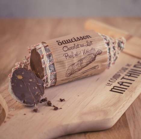 Deceptive Chocolate Sausages - Chocuterie Made Chocolate That Looks Exactly Like a Slab of Salami