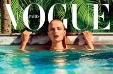 Red-Hot Pool Covers - Natasha Poly Stars in the Vogue Paris June/ Cover Image