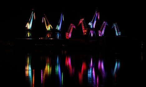 Luminous Origami-Inspired Cranes
