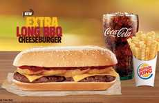 Elongated Burgers - Burger King's Extra Long BBQ Burger is Built Out Rather Than Up