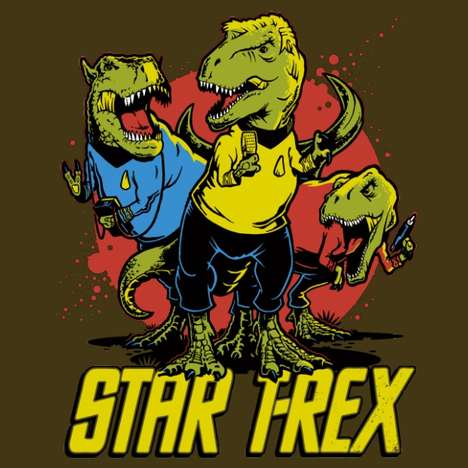 Galactic Dinosaur Designs - This Image Shows Cult Classic Star Trek Characters as Dinos