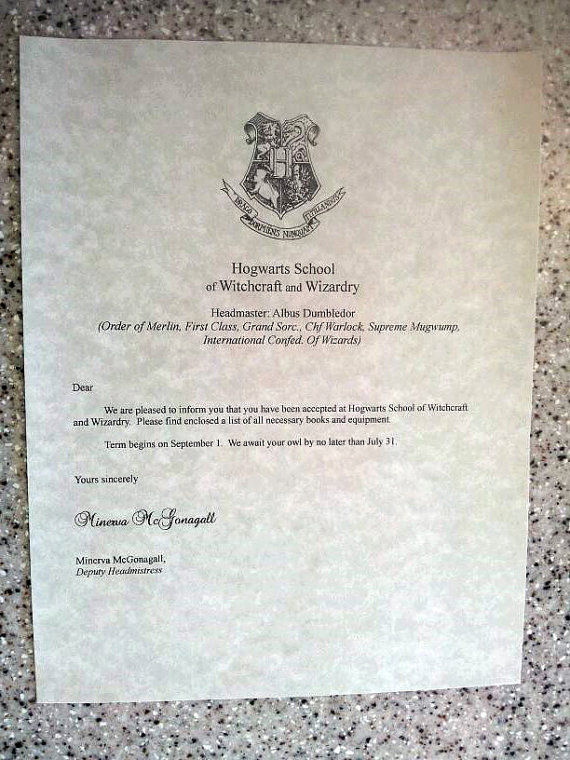 Wizardly Acceptance Letters : hogwarts acceptance letters