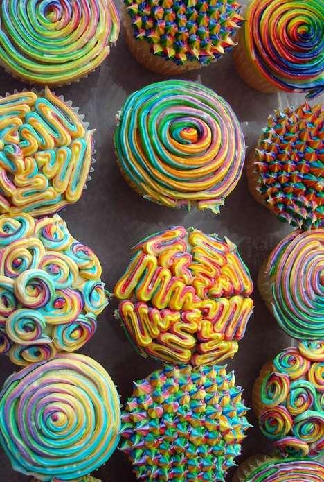 Psychedelic Technicolor Cupcakes