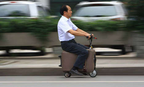Suitcase-Made Scooters - A Farmer in China Makes the Most of Various Belongings