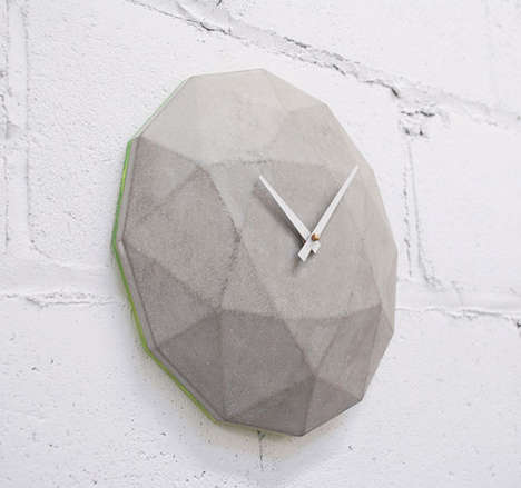 Carved Concrete Clocks - This Clock Gives the Illusion of Weight with Its Concrete Frame