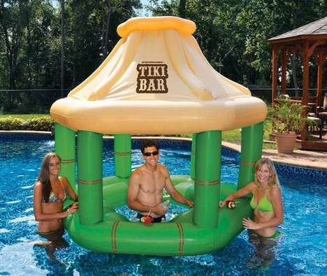 Tiki Pool Bars - This Inflatable Bar Lets You Serve Drinks from the Middle of the Pool