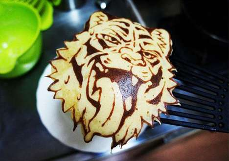 Detailed Feline Pancakes - This Tiger Pancake Shows the True Power of Pancake Art