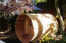 At-Home Cylindrical Spas - The Almost Heaven Canopy Barrel Sauna Lets You Steam On Your Own Property