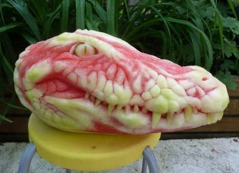 Reptilian Watermelon Art - This Watermelon Sculpture Looks Like an Sinister Alligator