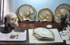 Shell Skull Carvings - Gregory Halili Turns Mother of Pearl Shells into Skulls