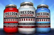 Patriotic American Alcohols - Freedom Moonshine American Rye Whiskey Comes in Red, White and Blue