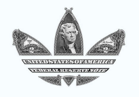 Monetary Trifole Logos - This American Money Adidas Logo Celebrates a Collaboration with Wish