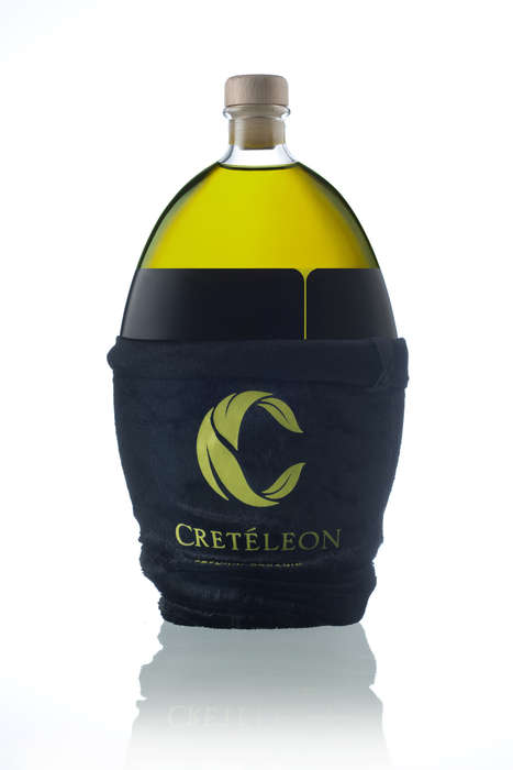 Undressed Oil Packaging - Creteleon Olive Oil Bottle Comes with a Sheath Perfect for Gifting