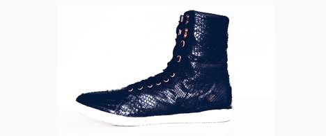 Sleek Python Footwear - This New Collection From Halloway Boasts Bold High-Top Shoes for Men