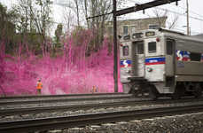 Train Track Murals - Katharina Grosse's Train Art Playfully Colors the Sights You'd See on a Train