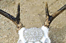 Bejeweled Taxidermy Decor - Lili Claspe's Lacquered Deer Skull Accessories are Jewel-Adorned