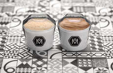 Achromatic Bakery Packaging - Meliartos' Baked Goods Stand Out Against Black and White Containers