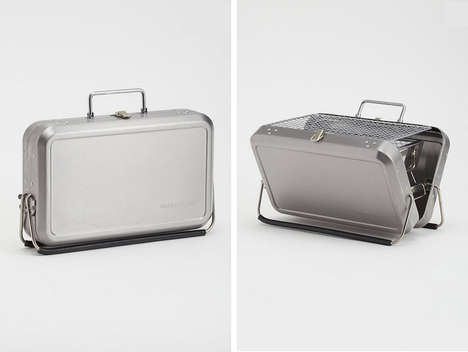Sleek Barbecue Suitcases - The Kikkerland Portable BBQ Looks Like a Stylish Silver Bag