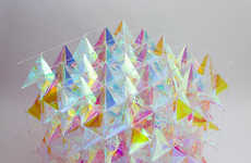 Colorful Cube Kites - This Dichroic Glass Kite Design Channels the Colored Scales of Butterfly Wings