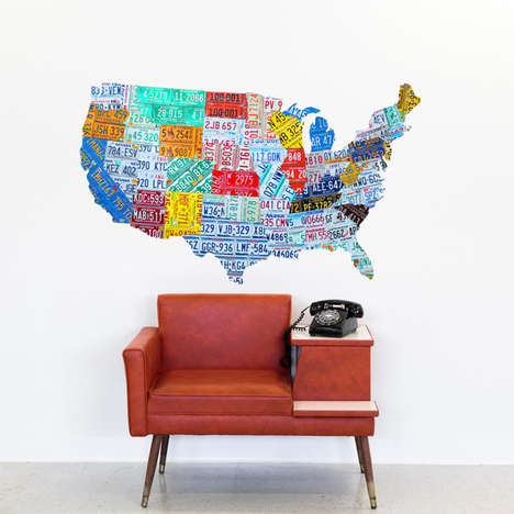 Patriotic License Plate Decor - This USA Tiled Map Wall Decal from Retro Planet Shows American Pride